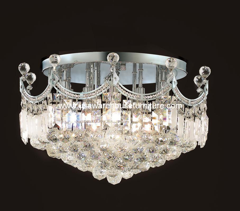 9 lights flush mount crystal chandelier 8949 corona for Flush mount crystal chandelier lighting