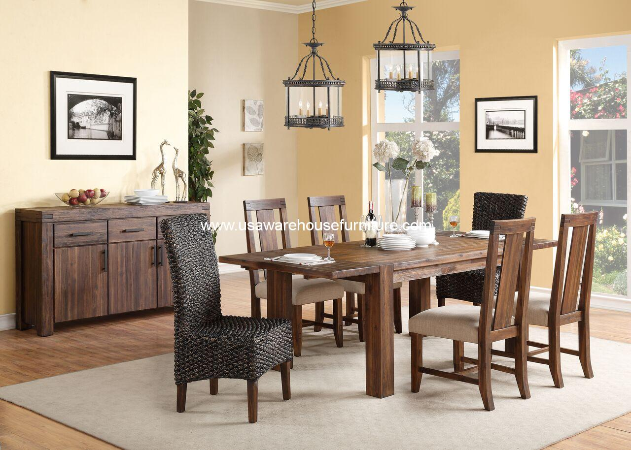 Meadow Rustic Solid Wood Dining Set With Wood Back Chair
