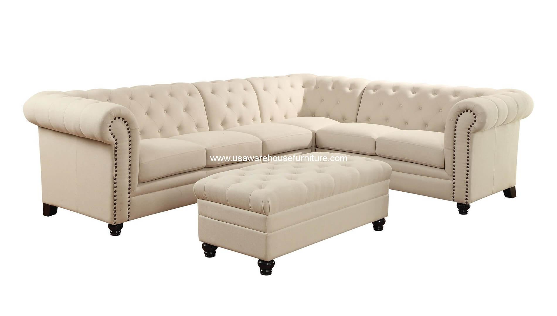 4 piece roy button tufted fabric sectional set usa for Tufted couch set
