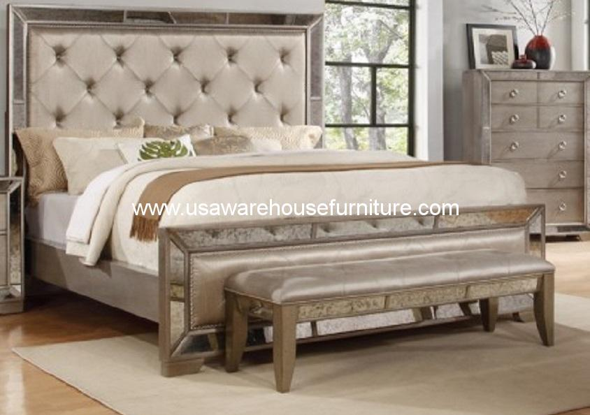 Celine Antique Silver ... - Celine Antique Silver Bronze Mirror Bed - USA Warehouse Furniture