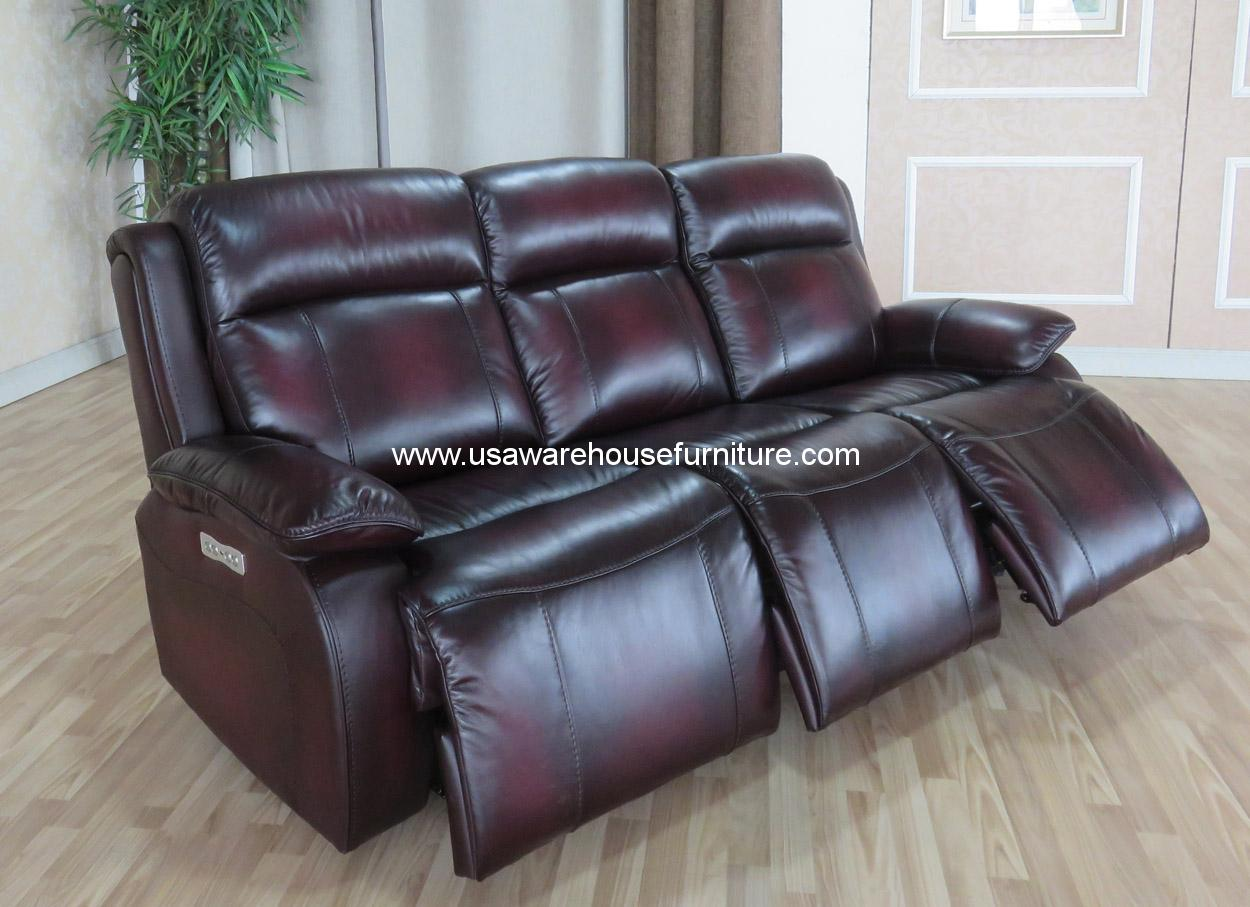 Faraday Full Top Grain Leather Power 3 Recliners Usa