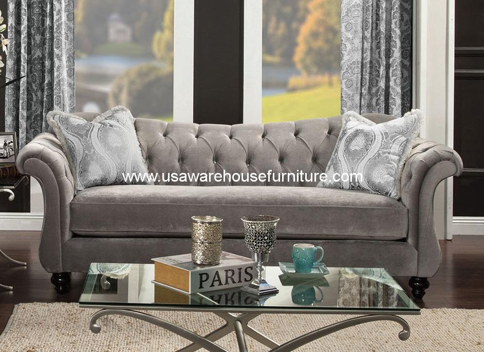 Furniture Of America Antoinette Dolphin Gray Sofa Usa Warehouse Furniture