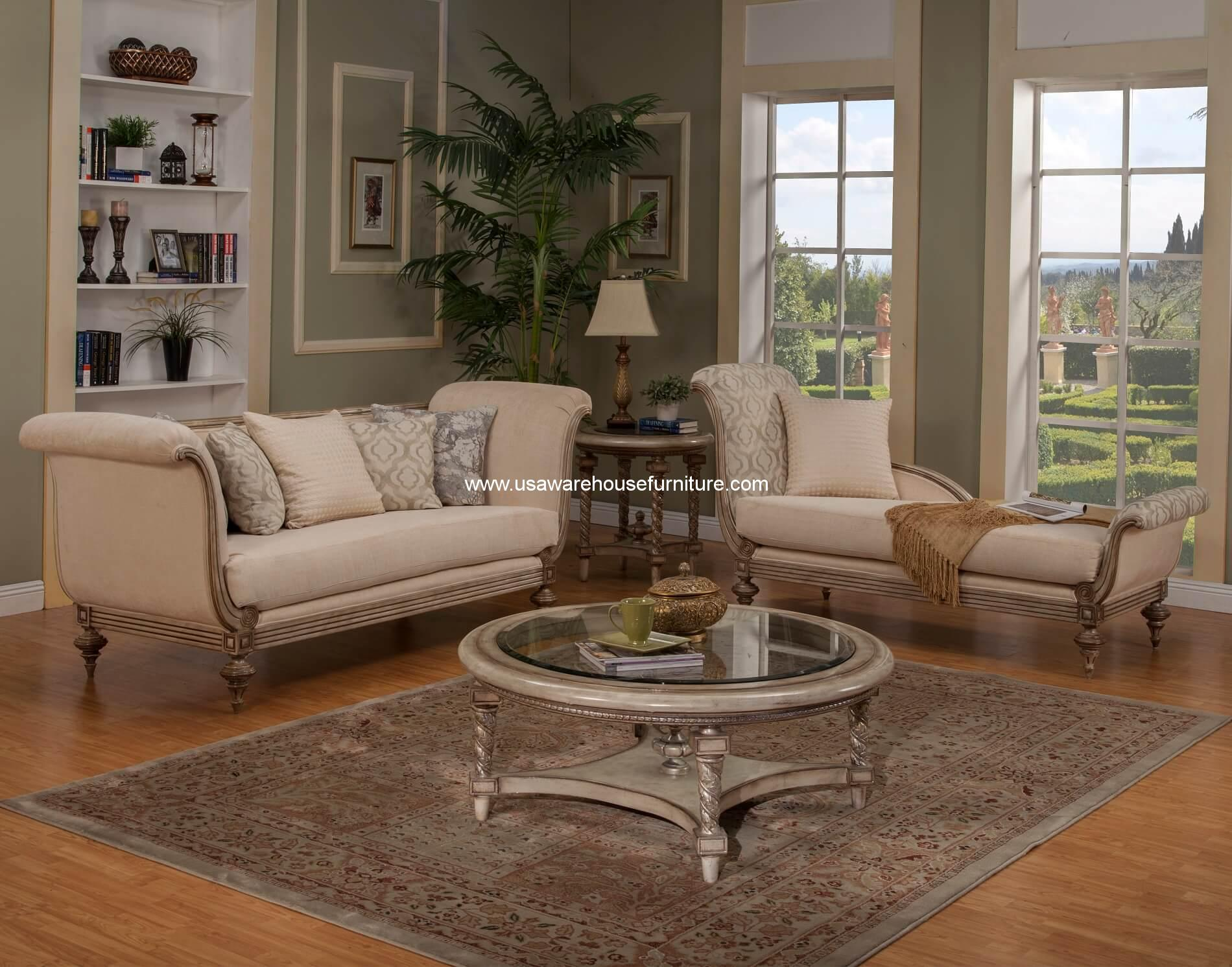 Milerige Wood Trim Sofa Chaise Lounge Set