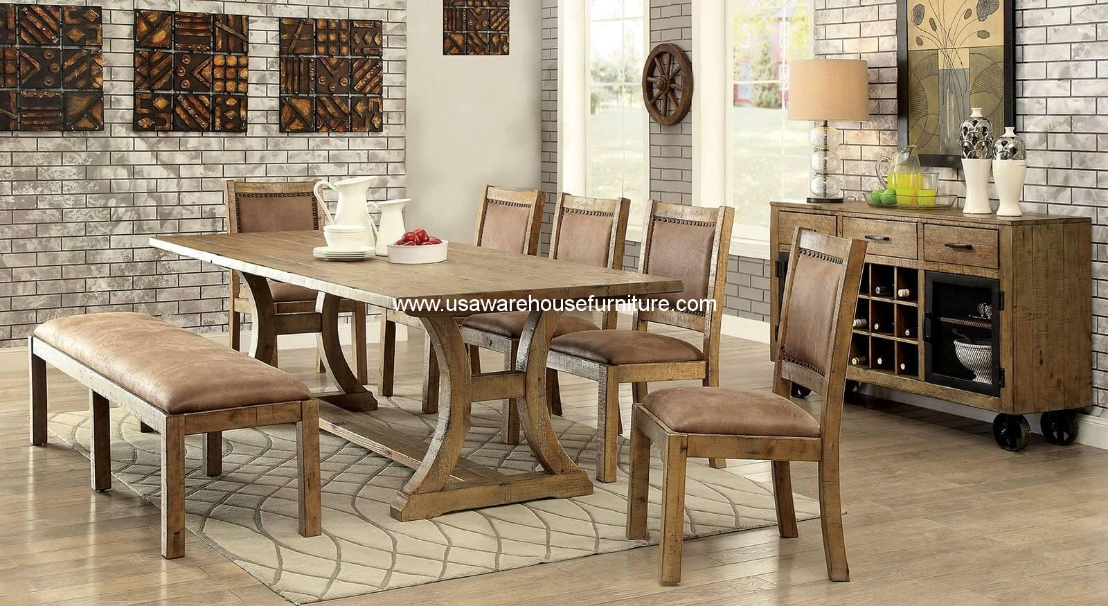 furniture of america gianna solid wood rustic dining set