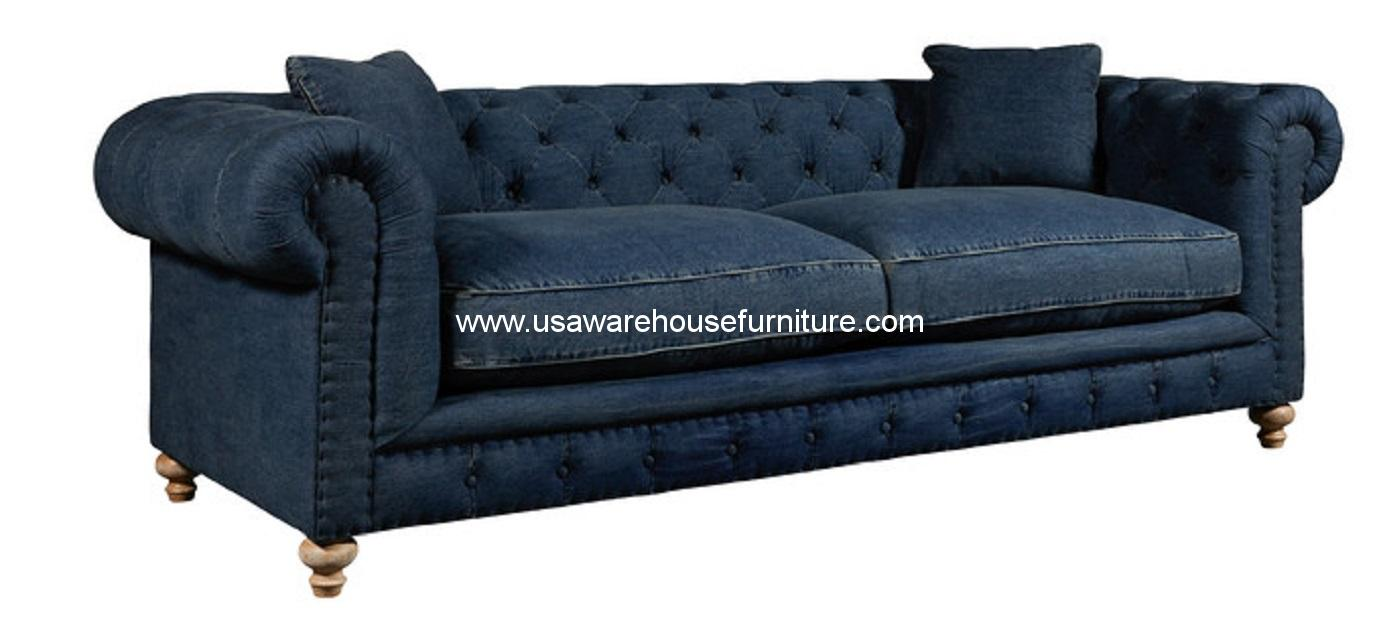 Greenwich sofa tufted blue denim fabric usa warehouse furniture Denim loveseat