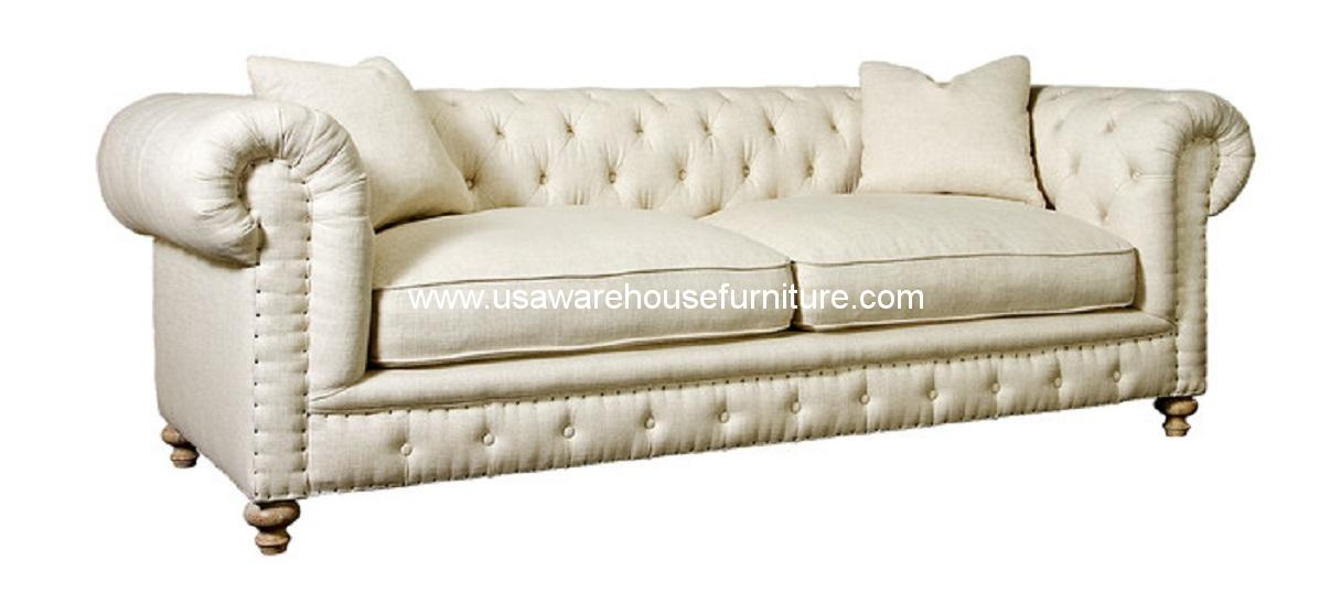 Greenwich Sofa Tufted Natural Fabric USA Warehouse Furniture