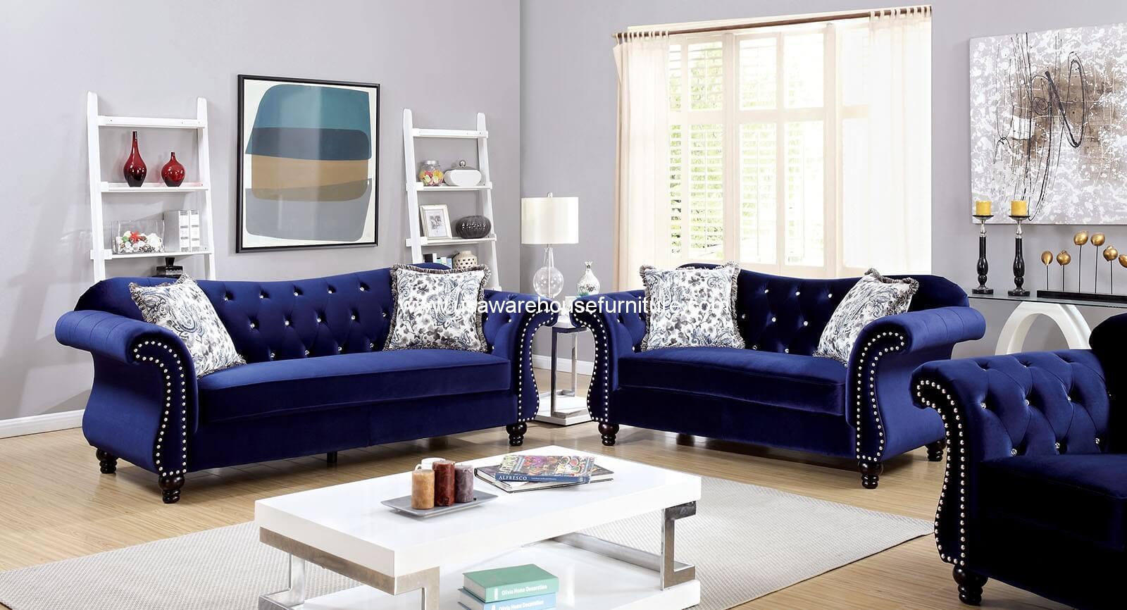 Jolanda Button Tufted Blue Fabric Sofa Set