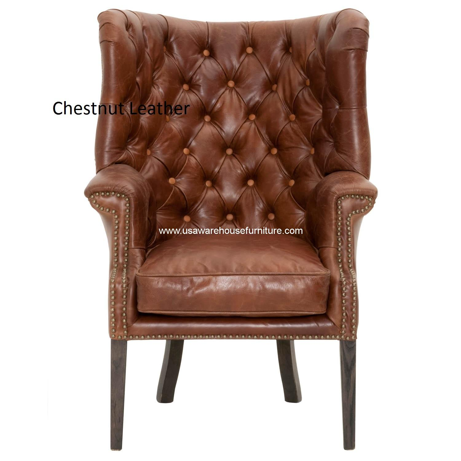 Patina Hughes Chestnut Antique Tufted Leather Club Chair