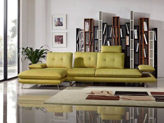 Eva Adjustable Backrest Dijon Yellow Fabric Sectional