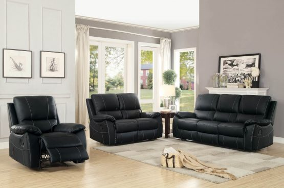 Greeley Top Grain Black Leather Reclining Sofa Set