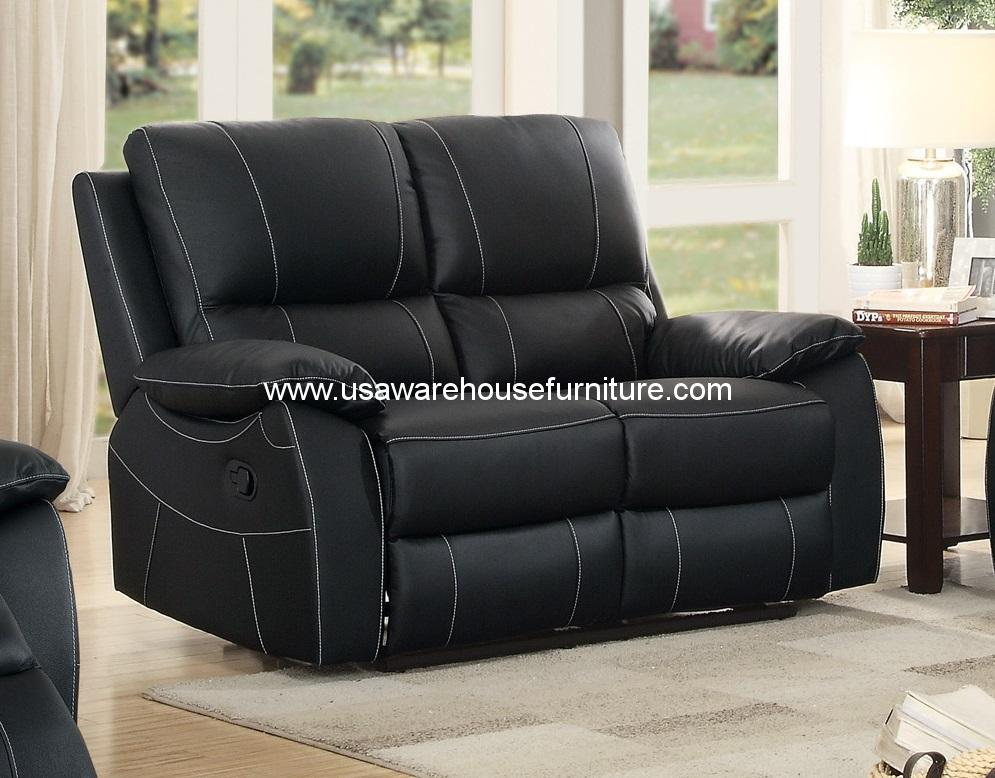 Greeley Top Grain Black Leather Double Reclining Loveseat 8325blk 2 Usa Warehouse Furniture