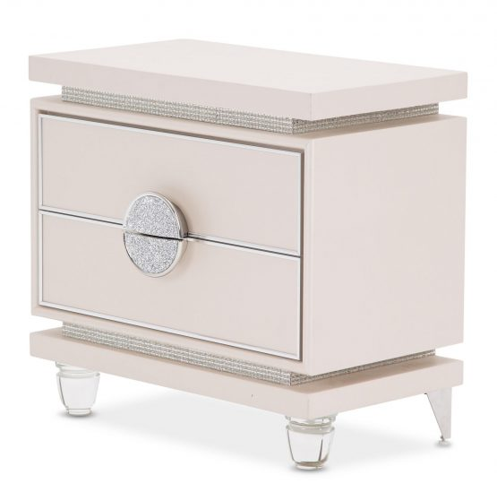 Michael Amini Glimmering Heights 2 Drawer Nightstand Ivory