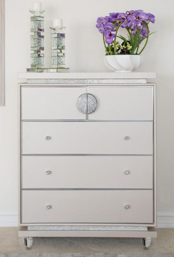 Michael Amini Glimmering Height 5 Drawer Chest