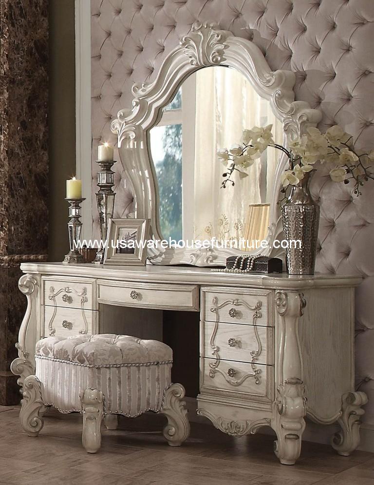3 Piece Versailles Vanity - Mirror With Stool Bone White Finish