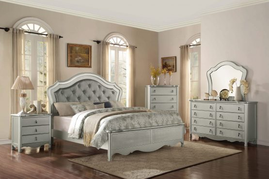 Toulouse Silver Finish Panel Bedroom Set
