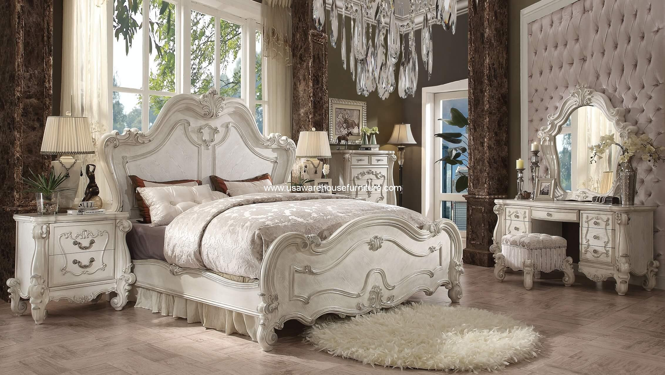 5 piece versailles traditional bedroom set bone white - Traditional white bedroom furniture ...