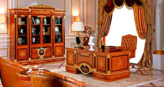 Empire European Executive Desk With 4-Door Bookcase Cabinet