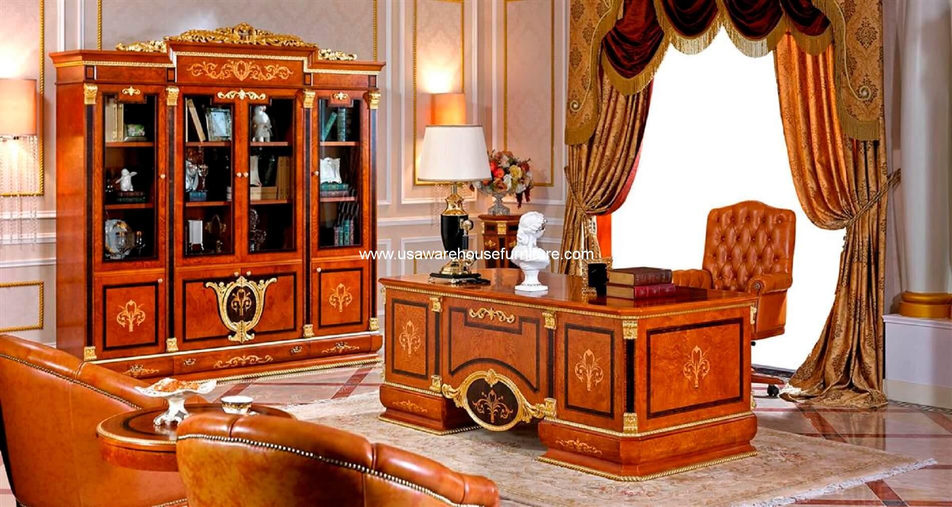 Empire european luxury executive desk with 4 door bookcase for Luxury italian furniture