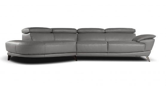 2 Piece Marisol Italian Grey Leather Sectional