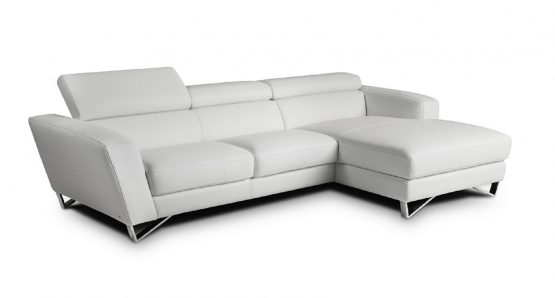 2 Piece Sparta Italian White Leather Sectional