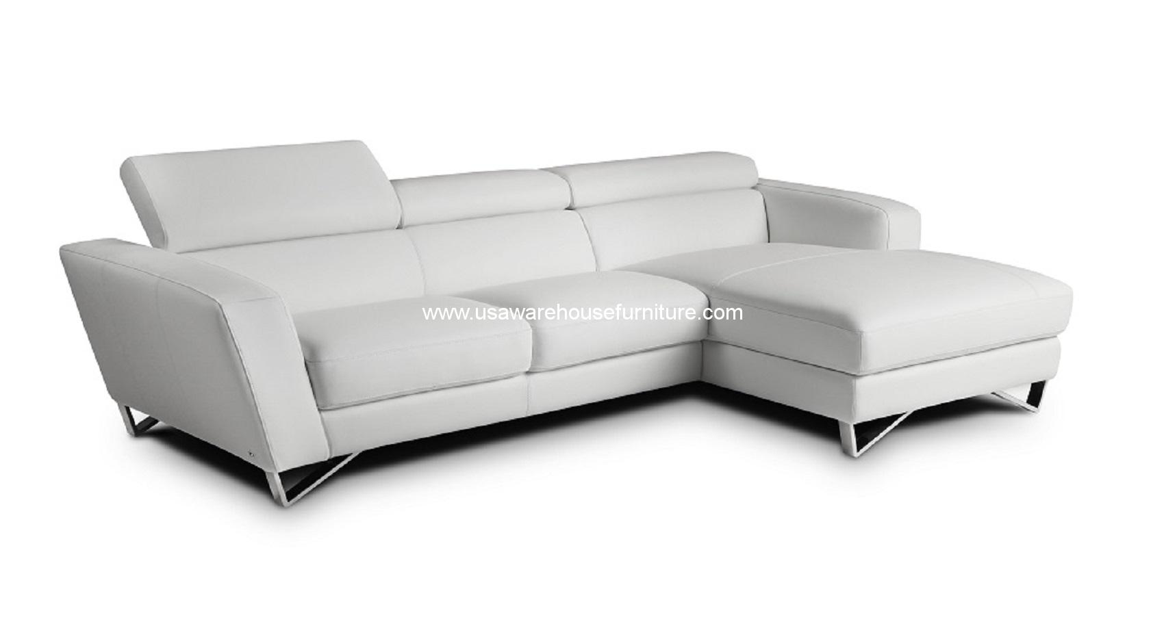 2 Piece Sparta Italian White Leather Modern Sectional