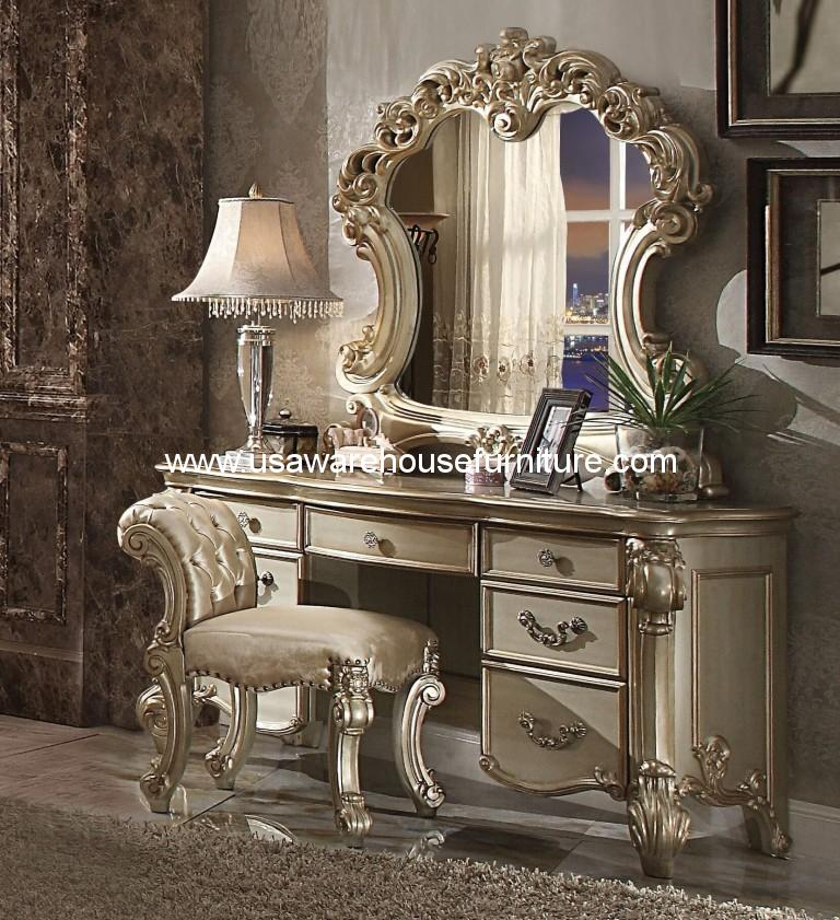 3 Piece Vendome Gold Patina Vanity Set With Stool