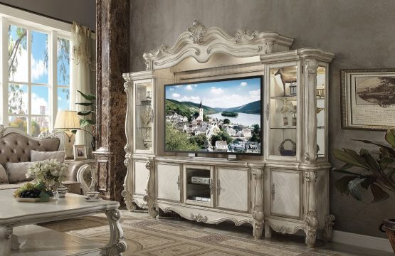 4 Piece Versailles Entertainment Center Bone White Finish