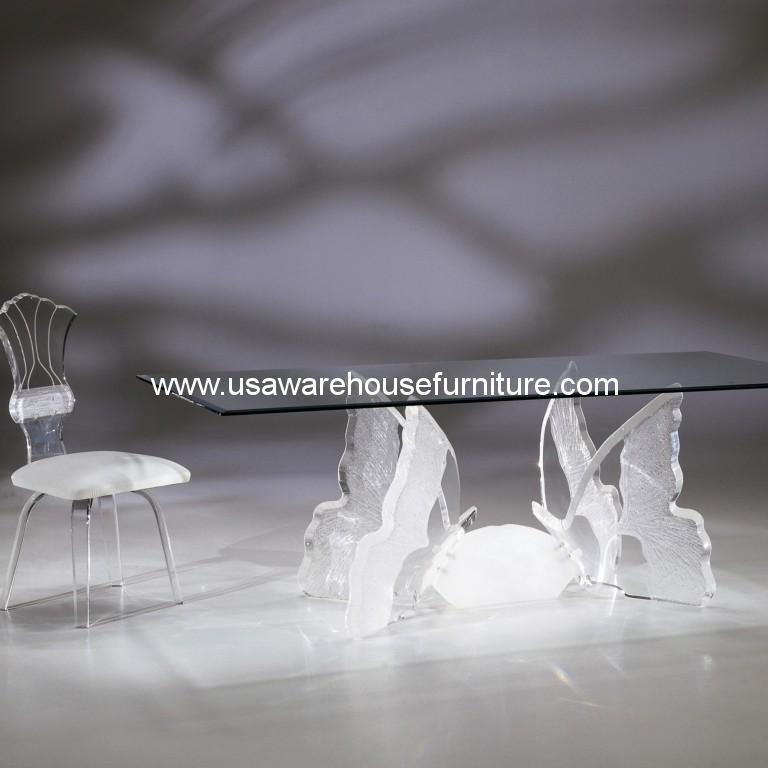 Acrylic Butterfly II Rectangular Dining Table