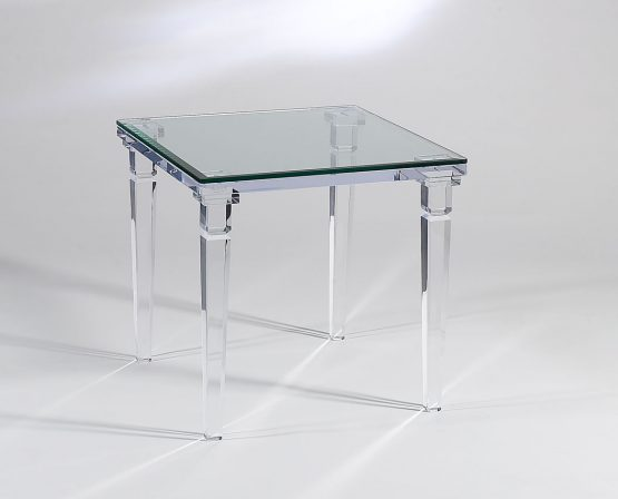 Acrylic Chateau End Table With Glass Top