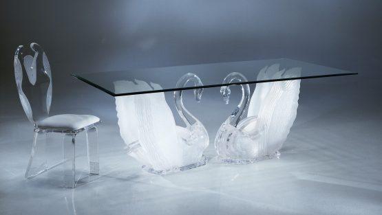 Acrylic Legend Swan Rectangular Dining Table