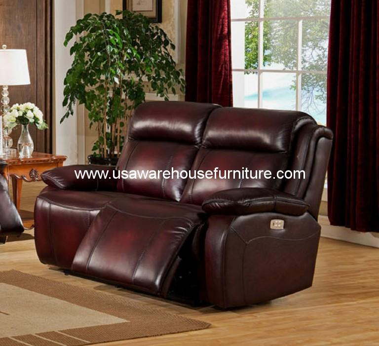 Faraday Full Top Leather Power Reclining Loveseat Usa