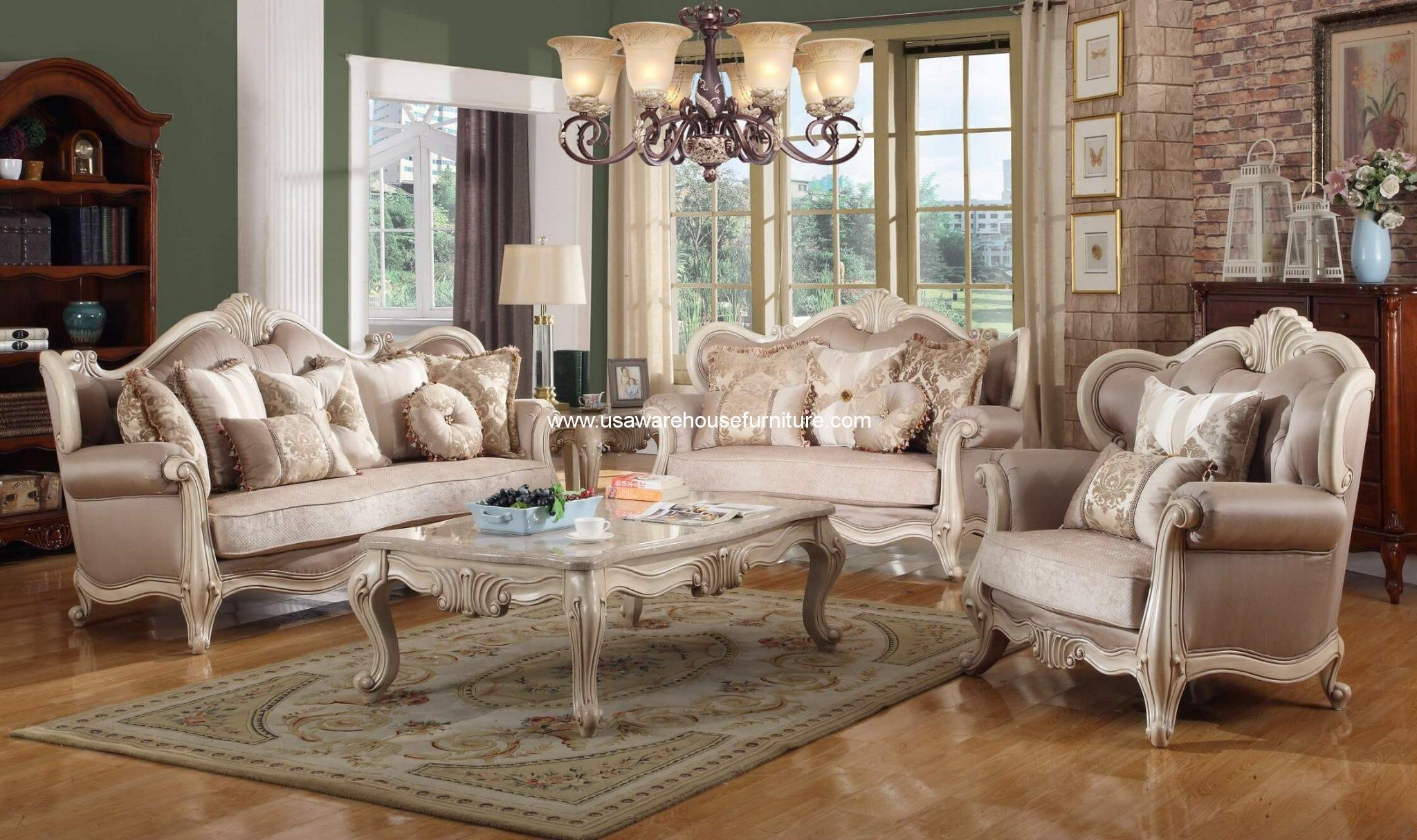Mcferran Furniture Sf8701 Natalie European Sofa Set Antique Beige on Antique Living Room Furniture Sets
