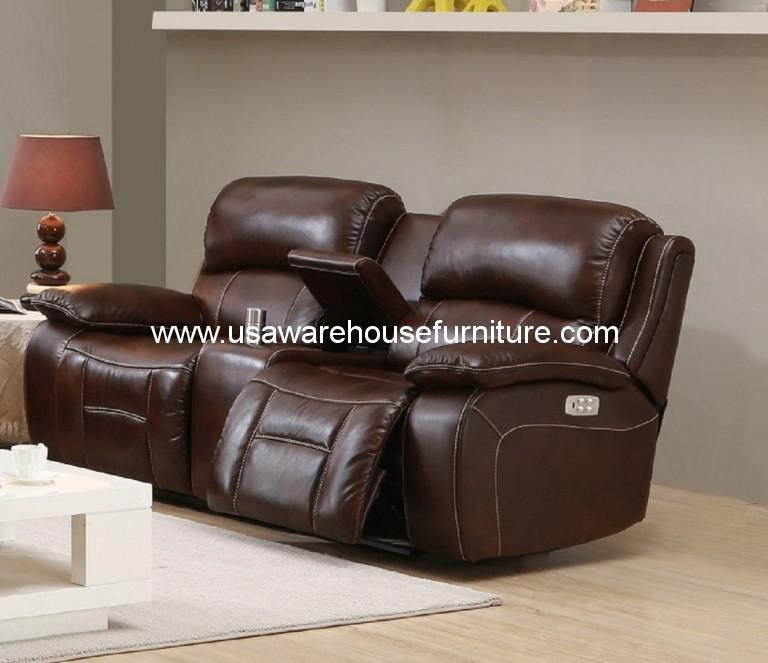 Westminster Genuine Brown Leather Power Reclining Loveseat