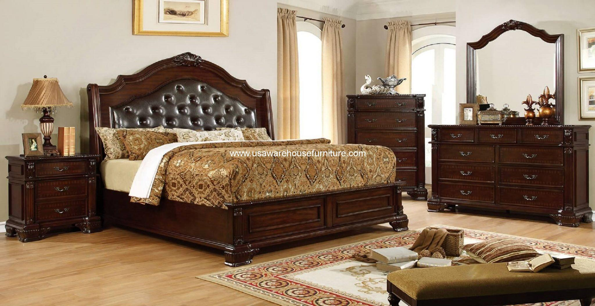 4 piece edinburgh traditional bedroom set brown cherry for Pictures of traditional furniture