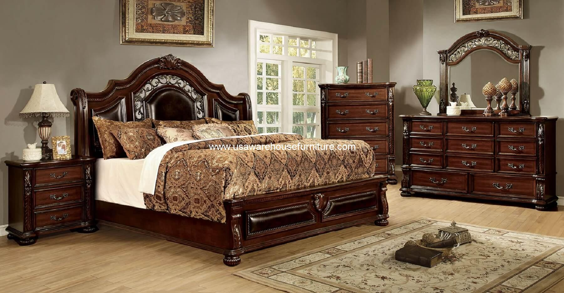 4 piece flansreau bedroom set brown cherry finish usa for Bedroom furniture warehouse