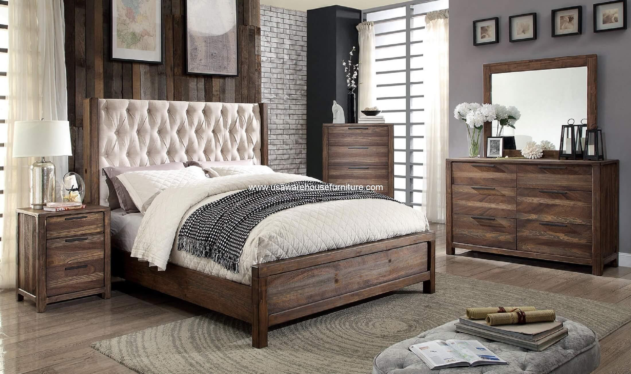4 Piece Hutchinson Bedroom Set Rustic Natural Tone Finish Usa Warehouse Furniture