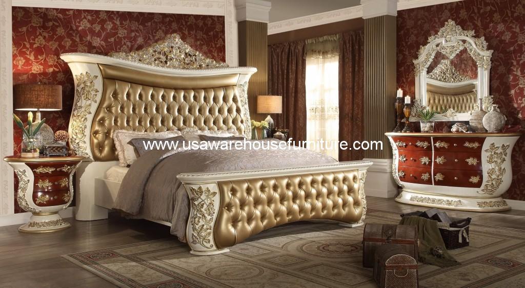 5 Piece Hd 8019 Palazzo Bedroom Set Antique Cream Finish Usa Warehouse Furniture