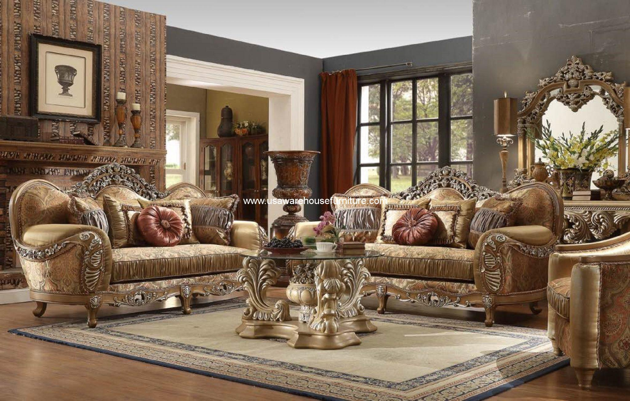 Hd 622 giovanna sofa set antique brown finish usa for Quality living room sets