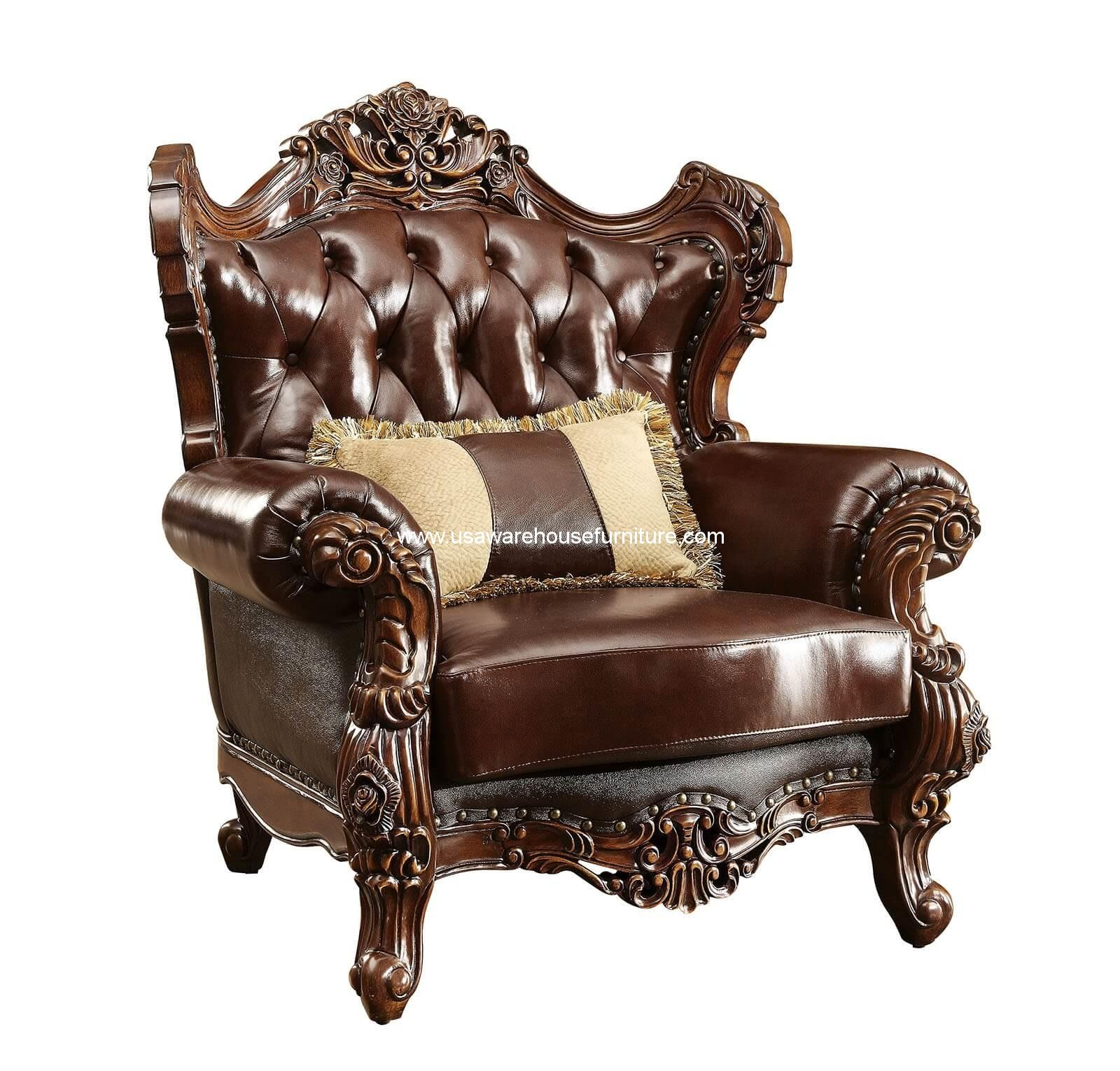 jericho wood trim leather chair dark oak finish usa warehouse furniture. Black Bedroom Furniture Sets. Home Design Ideas