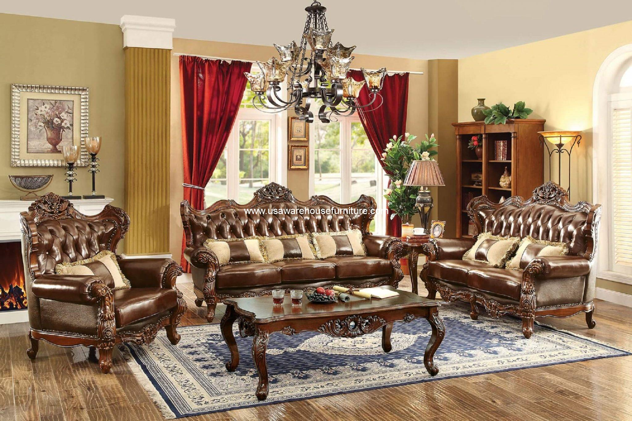 Oak Sofa Set ~ Jericho wood trim leather sofa set dark oak finish usa