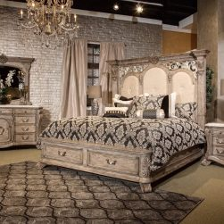 4 Piece Villa Di Como Storage Bedroom Set Heritage Finish