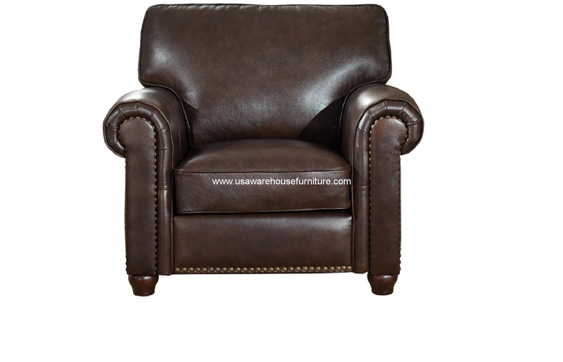 barbara dark brown full top grain leather chair usa warehouse furniture. Black Bedroom Furniture Sets. Home Design Ideas