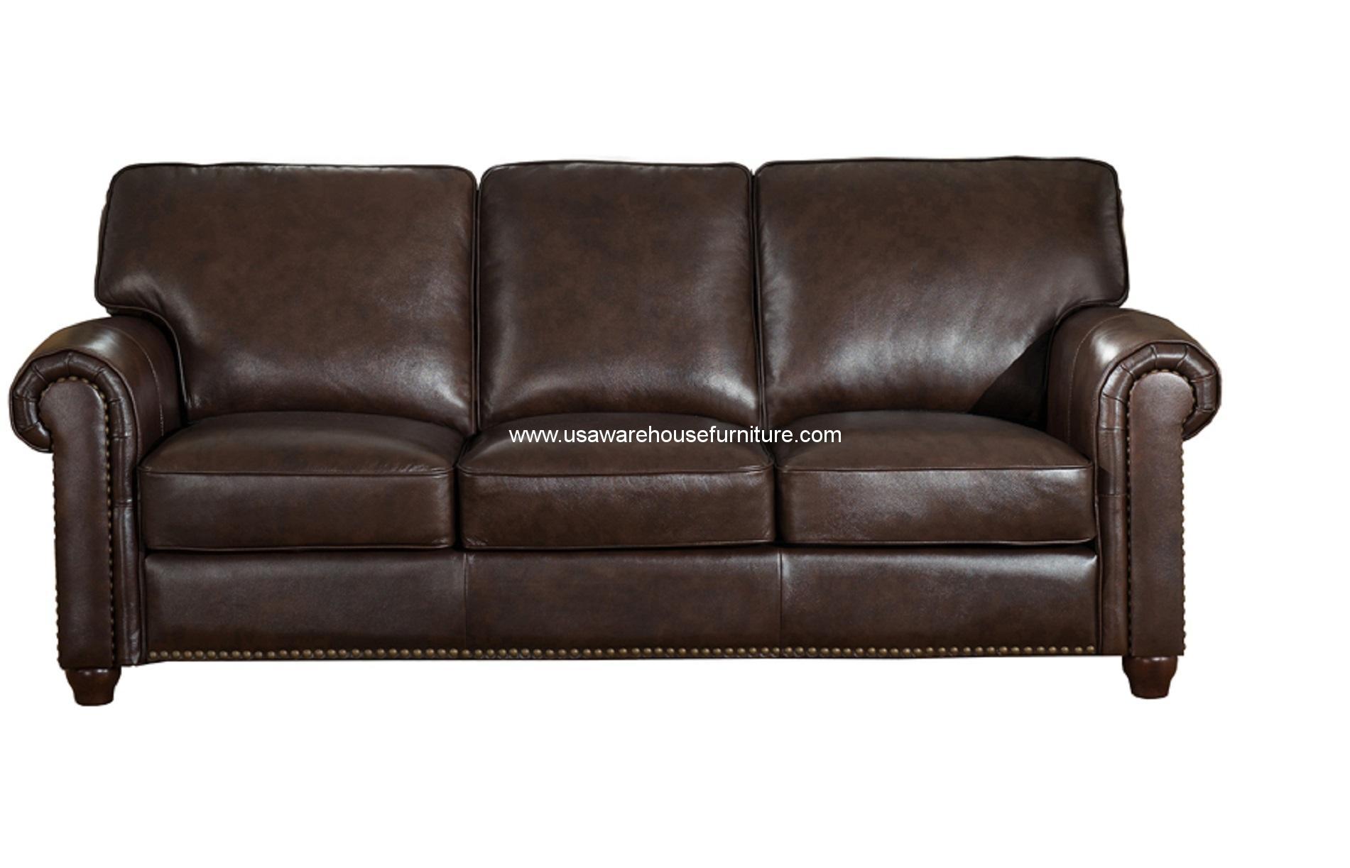 Barbara Dark Brown Full Top Grain Leather Sofa Usa