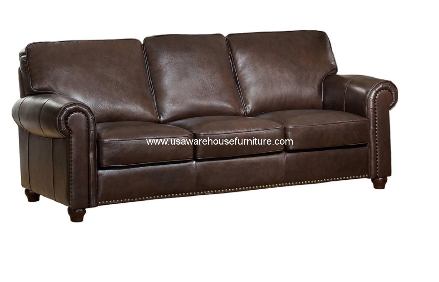 barbara dark brown full top grain leather sofa usa warehouse furniture. Black Bedroom Furniture Sets. Home Design Ideas