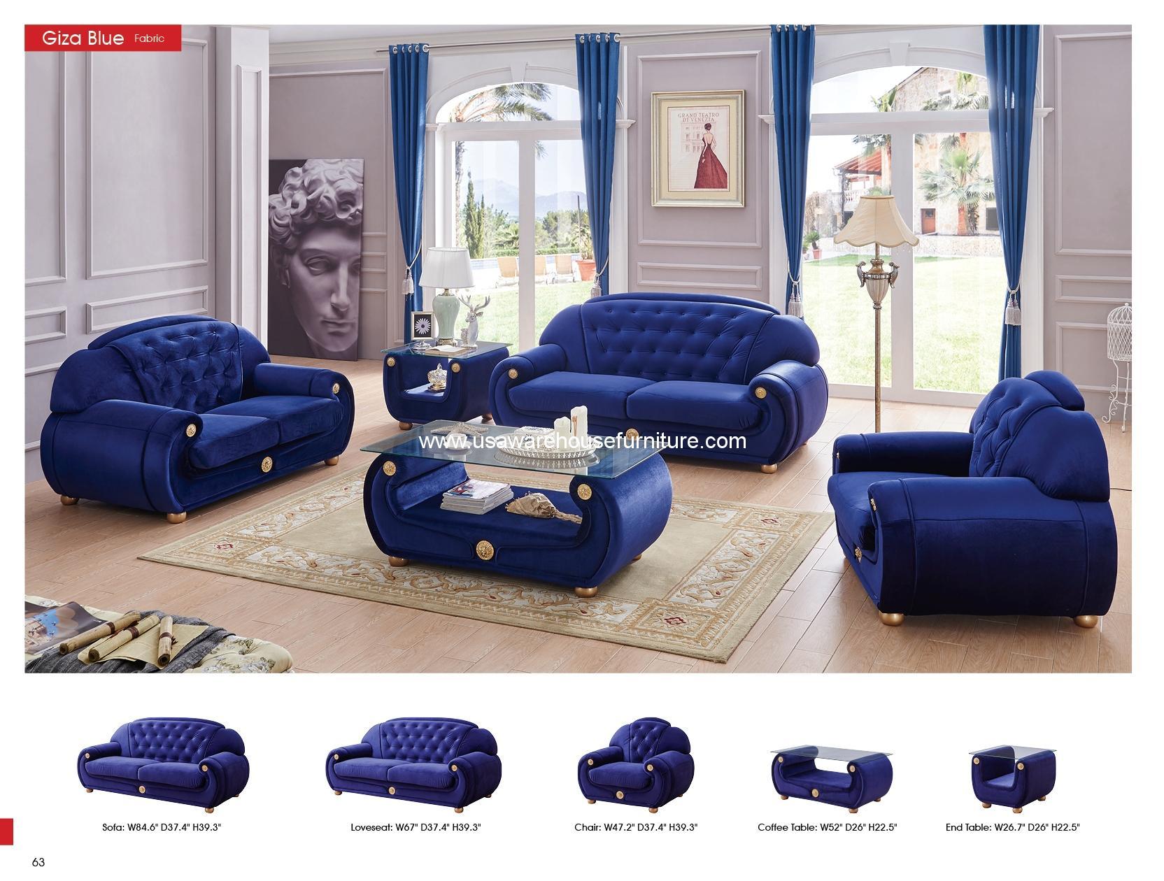 Esf Furniture Giza Dark Blue Fabric Sofa Set Usa Warehouse Furniture