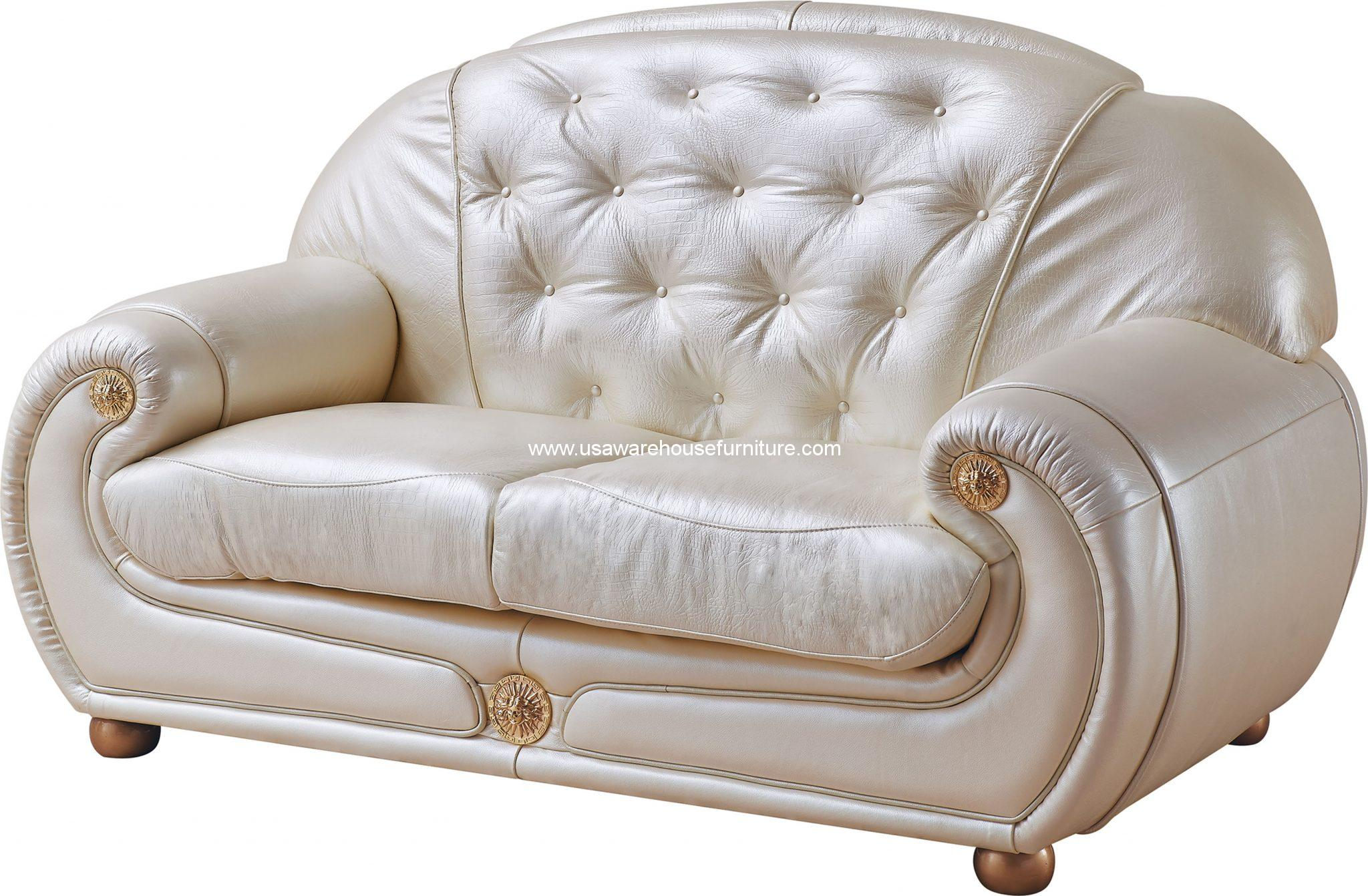 Esf Furniture Giza Full Italian Leather Loveseat Usa Warehouse Furniture