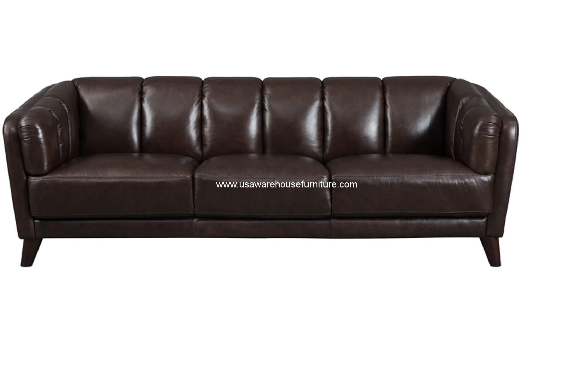 frances dark brown full top grain leather sofa usa warehouse furniture. Black Bedroom Furniture Sets. Home Design Ideas