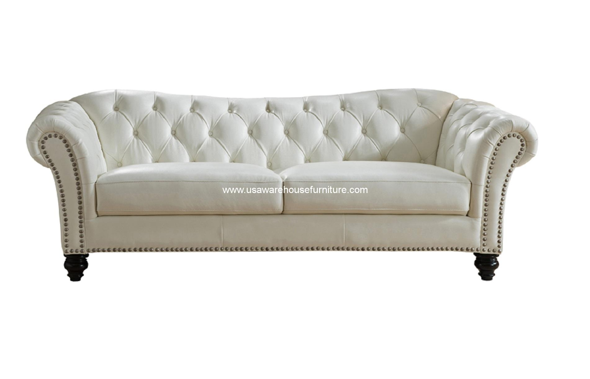 Mona Ivory White Full Top Grain Tufted Leather Sofa Usa