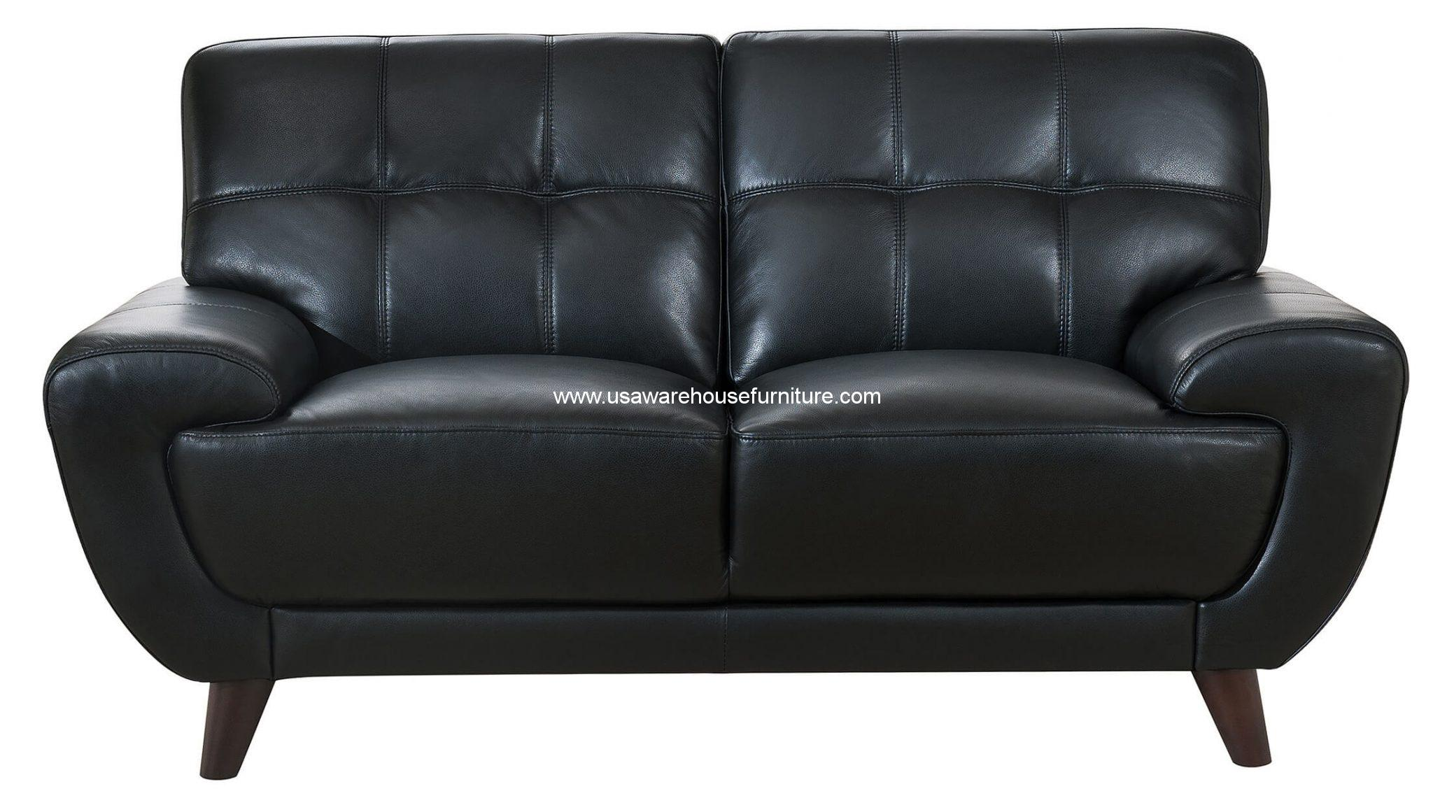 Nicole black full top grain leather loveseat usa warehouse furniture Loveseat black