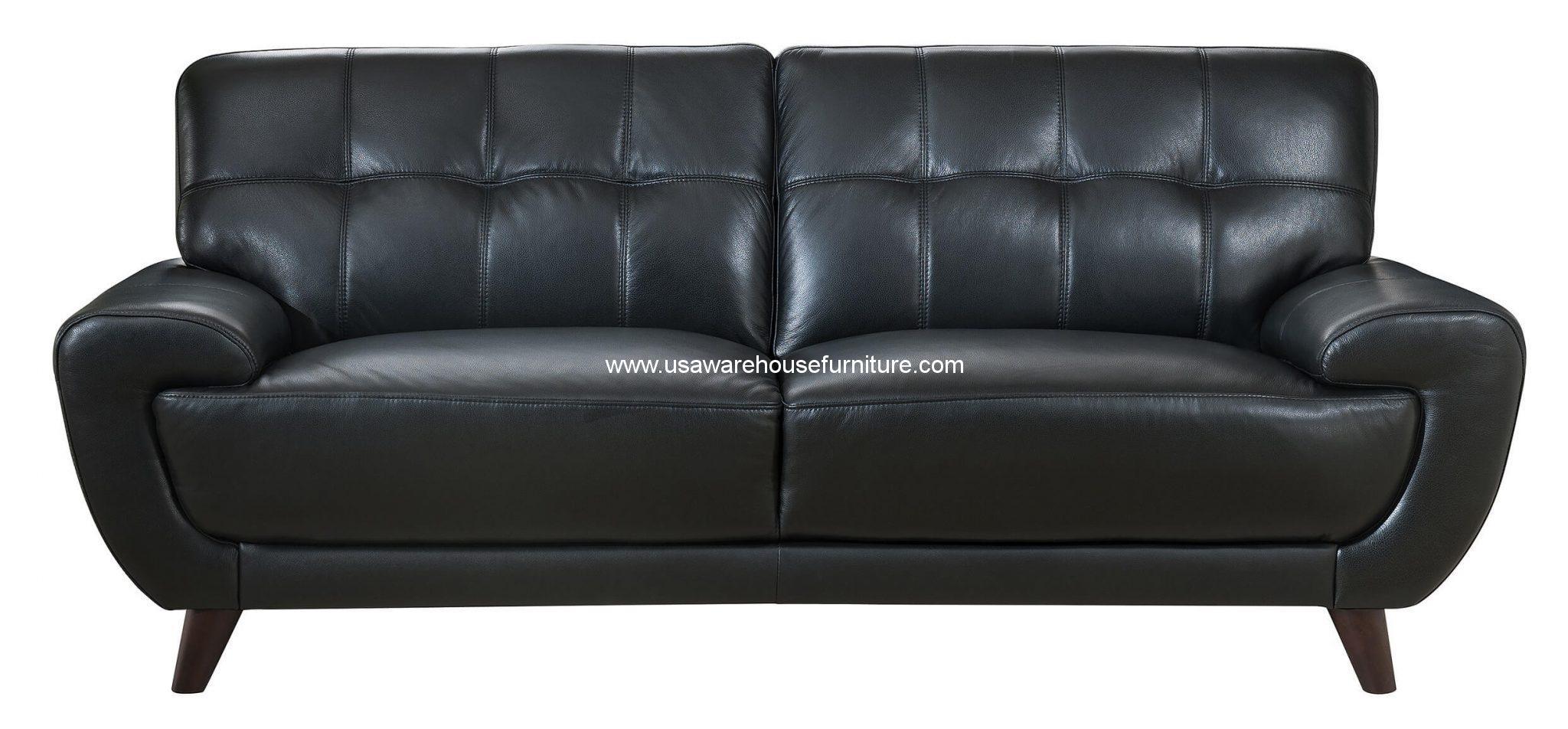 Nicole Black Full Top Grain Leather Sofa Usa Warehouse